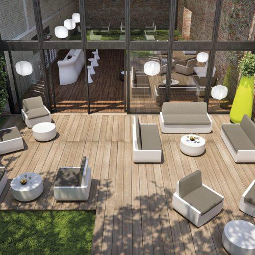 Poltrona divano polietilene Indoor Outdoor Bold per B&B, hotel, resort, case di campagna